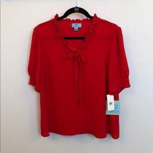 CeCe red v-neck blouse